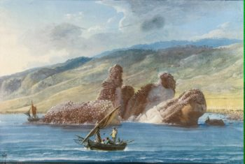 Rocks by the Shore in the Bay of La Trizza | Houel Jean-Pierre-Laurent | oil painting