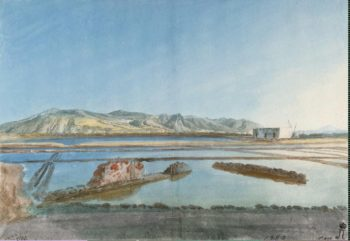 Ruins of Ancient Salt Works on the Island of Salina | Houel Jean-Pierre-Laurent | oil painting