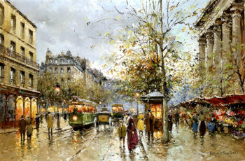 Flower Market at the Madeleine | Antoine Blanchard | oil painting
