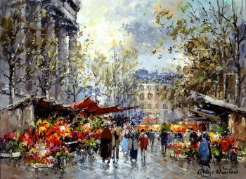 Flower Market Madeleine | Antoine Blanchard | oil painting