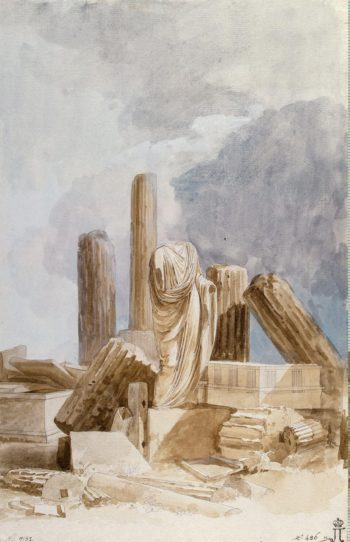 Sculpture and Architectural Fragments of Marble Stone and Lava Found on the Island of Lipari | Houel Jean-Pierre-Laurent | oil painting