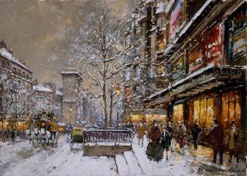 Grands Boulevard et Porte St Denis sous la Neige | Antoine Blanchard | oil painting