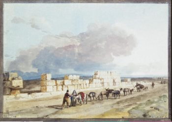 The Ruins of the Temple of Jupiter to the East of the Harbour of Marsa Scirocco on Malta | Houel Jean-Pierre-Laurent | oil painting
