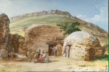 Thermae in San Calogero in the South-West of Lipari | Houel Jean-Pierre-Laurent | oil painting
