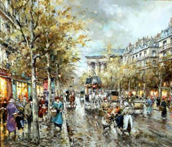 La Madeleine Boulevard des Capucines | Antoine Blanchard | oil painting