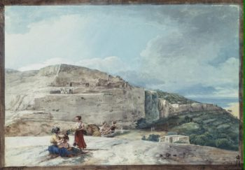 View of a Cliff and an Ancient Dwelling in the North of Malta (The Calypso Grotto) | Houel Jean-Pierre-Laurent | oil painting