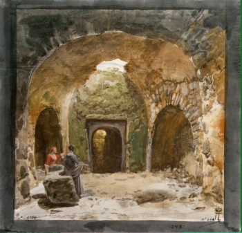 View of a Sepulchre in the Underground Grotto near the Church of S.Nicola on the Island of Lipari | Houel Jean-Pierre-Laurent | oil painting