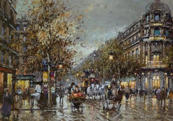 Les Grands Boulevards et Theatre du Vaudeville | Antoine Blanchard | oil painting