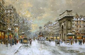 Les Grands Boulevards Porte St Martin and Porte St Denis | Antoine Blanchard | oil painting