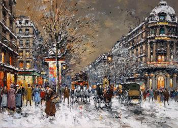Les Grands Boulevards sous la Neige | Antoine Blanchard | oil painting