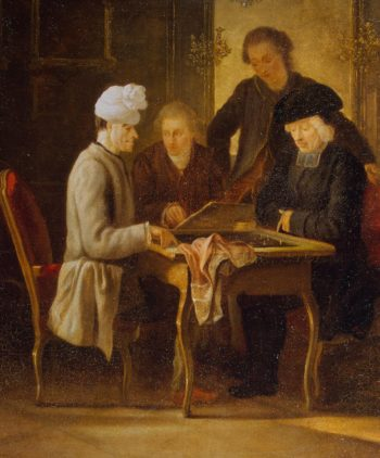 Voltaire at a Chess Table | Huber Jean | oil painting