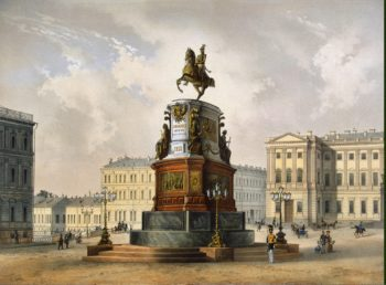 View of the Monument to Emperor Nicholas I on St Isaac Square | Schulz Carl | oil painting