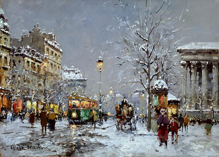 Place de la Madeleine Winter | Antoine Blanchard | oil painting