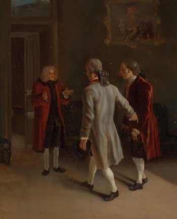 Voltaire Welcoming his Guests | Huber Jean | oil painting