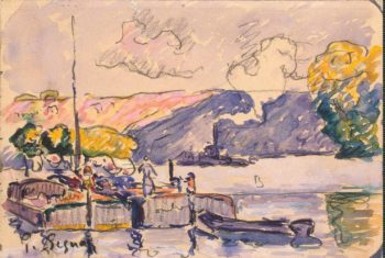 Two Barges Boat and Tugboat in Samois | Signac Paul | oil painting