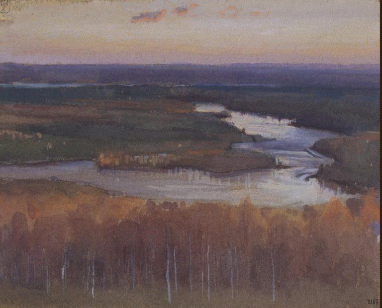 Autumn Landscape with a River | Jarnefelt Eero Nicolai | oil painting