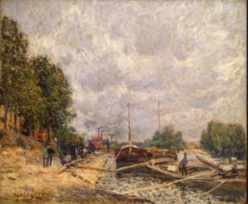 Barges at Billancourt | Sisley Alfred | oil painting