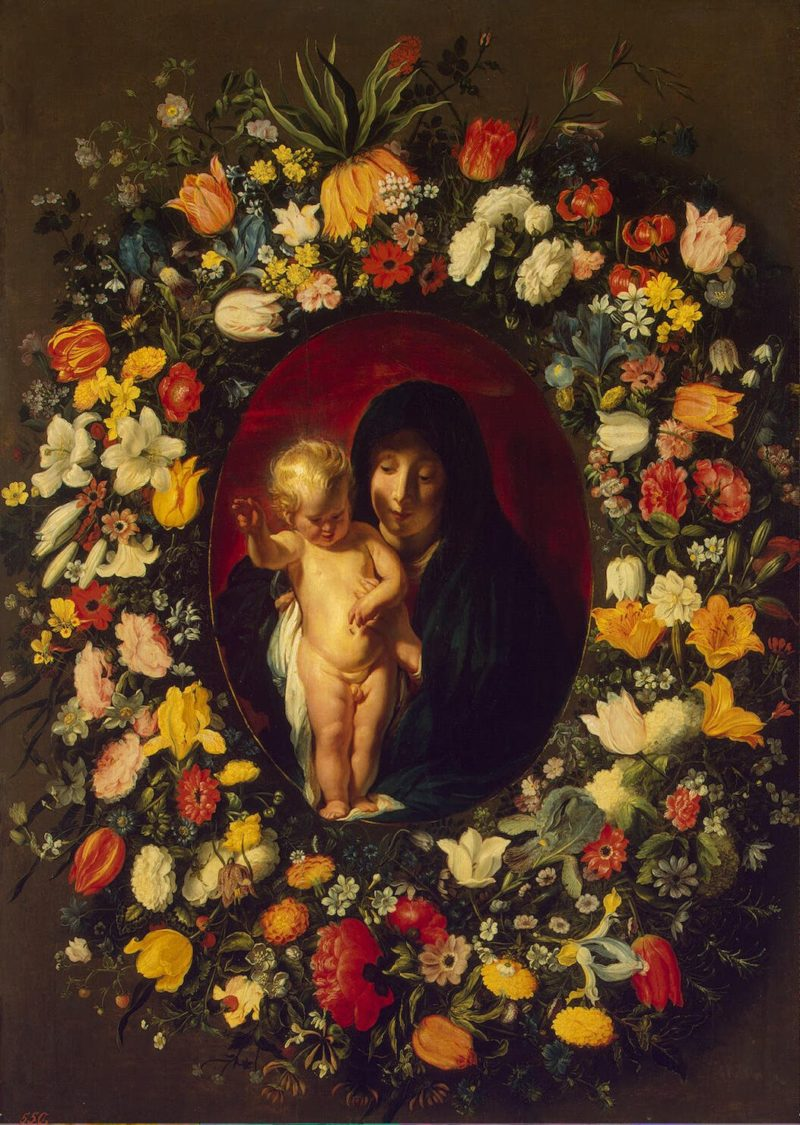 Madonna and Child in the Garland of Flowers | Jordaens Jacob Daniels Andries (flowers) | oil painting