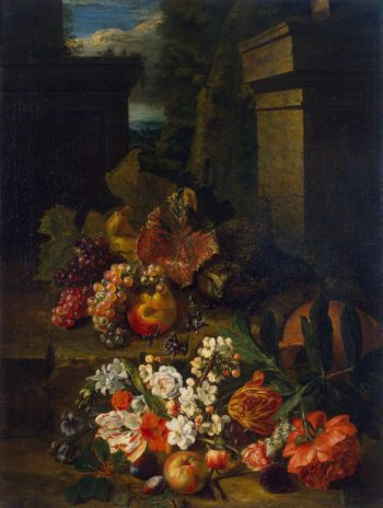 Flowers Fruit and a Hedgehog | Sneyers Peeter | oil painting