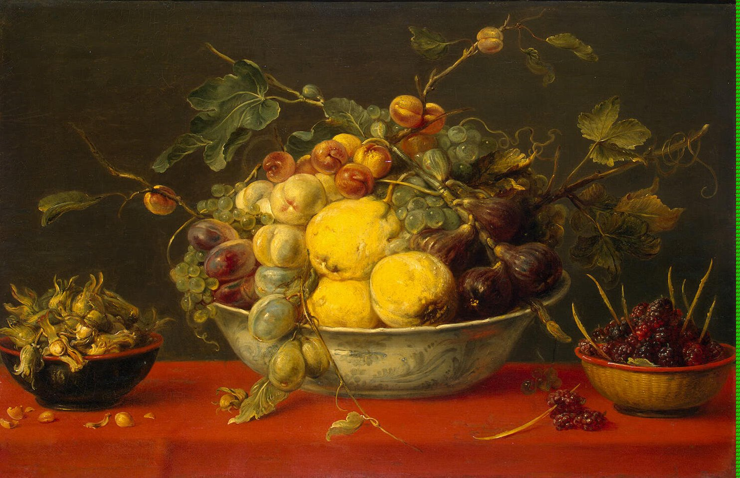Fruit In A Bowl On A Red Cloth Painting Snyders Frans Oil Paintings
