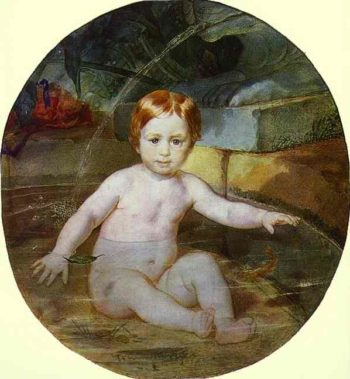 Child in a Swimming Pool Portrait of Prince A G Gagarin in Childhood | Karl Briullov | oil painting