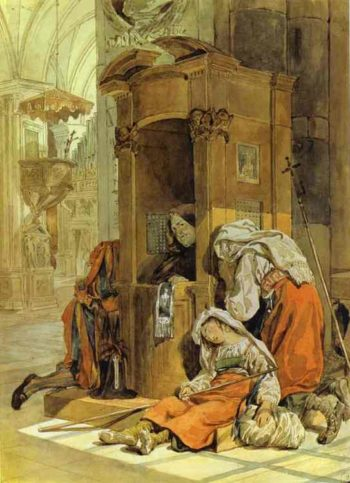 Confession of an Italian Woman | Karl Briullov | oil painting