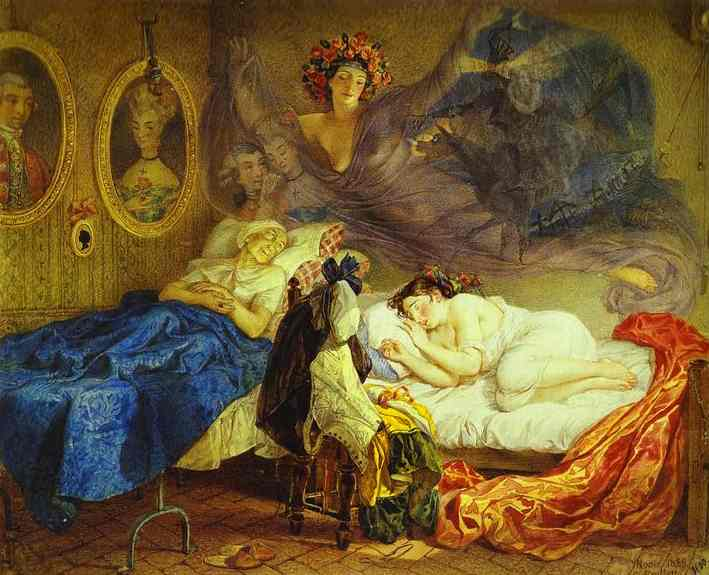 Dreams of Grandmother and Granddaughter | Karl Briullov | oil painting