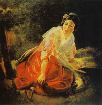 Girl in a Forest | Karl Briullov | oil painting