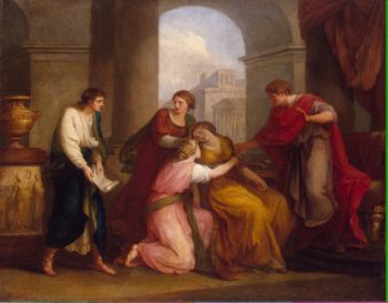 Virgil reading the Aeneid to Augustus and Octavia | Kauffman Angelica | oil painting