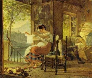 Italian Woman Heavy with a Child Examining a Shirt and Her Husband Making a Cradle | Karl Briullov | oil painting