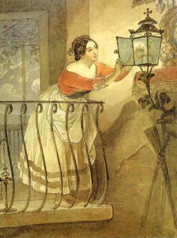 Italian Woman Lightning a Lamp in front of the Image of Madonna | Karl Briullov | oil painting