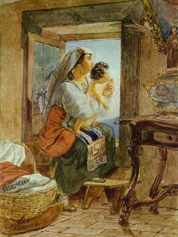 Italian Woman with a Child by a Window | Karl Briullov | oil painting