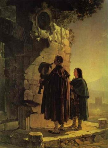 Pifferary in front of Madonna | Karl Briullov | oil painting