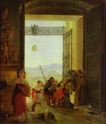 Pilgrims at the Entrance of the Lateran Basilica | Karl Briullov | oil painting