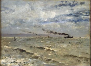 Sea View with Ships | Stevens Alfred | oil painting