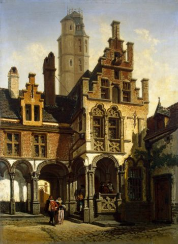 Courtyard of the Palace of Marguerite of Austria in Malines   Stroobant Francois   oil painting