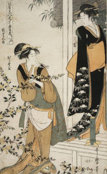 Act II (Geishas) Itsutomi and Hiranoya | Kitagawa Utamaro | oil painting