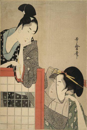 Lady and Gentleman by a Screen | Kitagawa Utamaro | oil painting