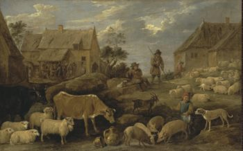 Landscape with a Shepherd and a Flock | Teniers David II | oil painting