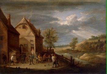 Landscape with Peasants Bowling | Teniers David II | oil painting