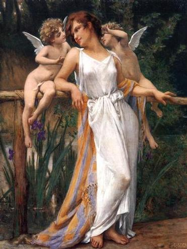 Nymph and Cherubs | Guillaume Seignac | oil painting