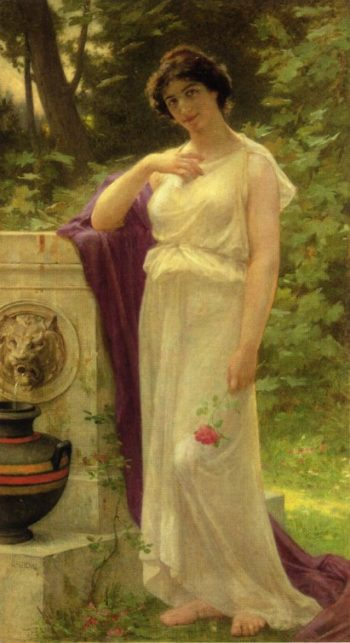 Young Woman with a Rose | Guillaume Seignac | oil painting