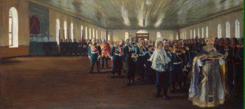 Church Parade of the Finnish Life Guard Regiment | Kustodiev Boris Mikhailovich | oil painting