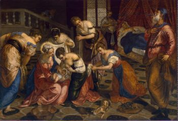 Birth of John the Baptist | Tintoretto Jacopo Robusti | oil painting