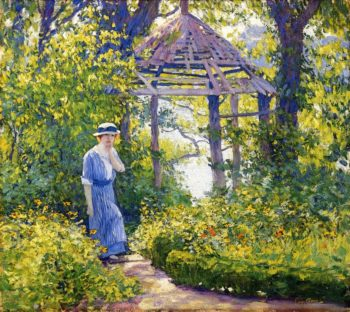 Girl in a Wickford Garden New England | Guy Orlando Rose | oil painting