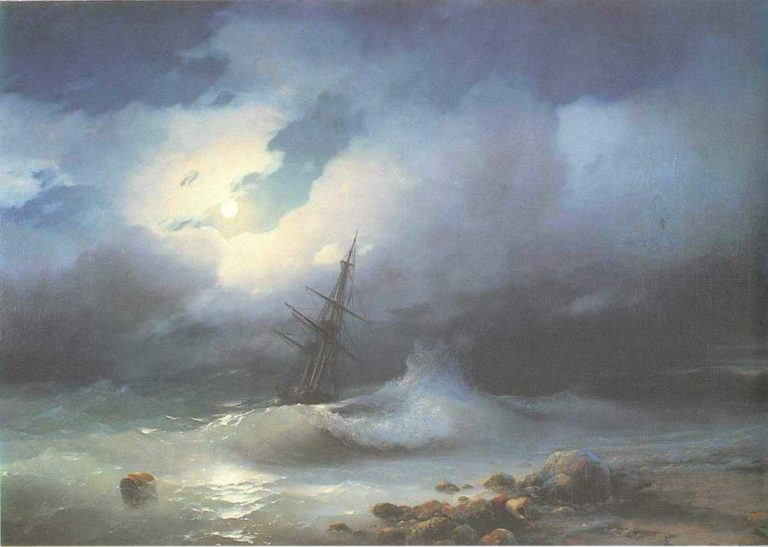 Rough sea at night | Ivan Aivazovsky | oil painting