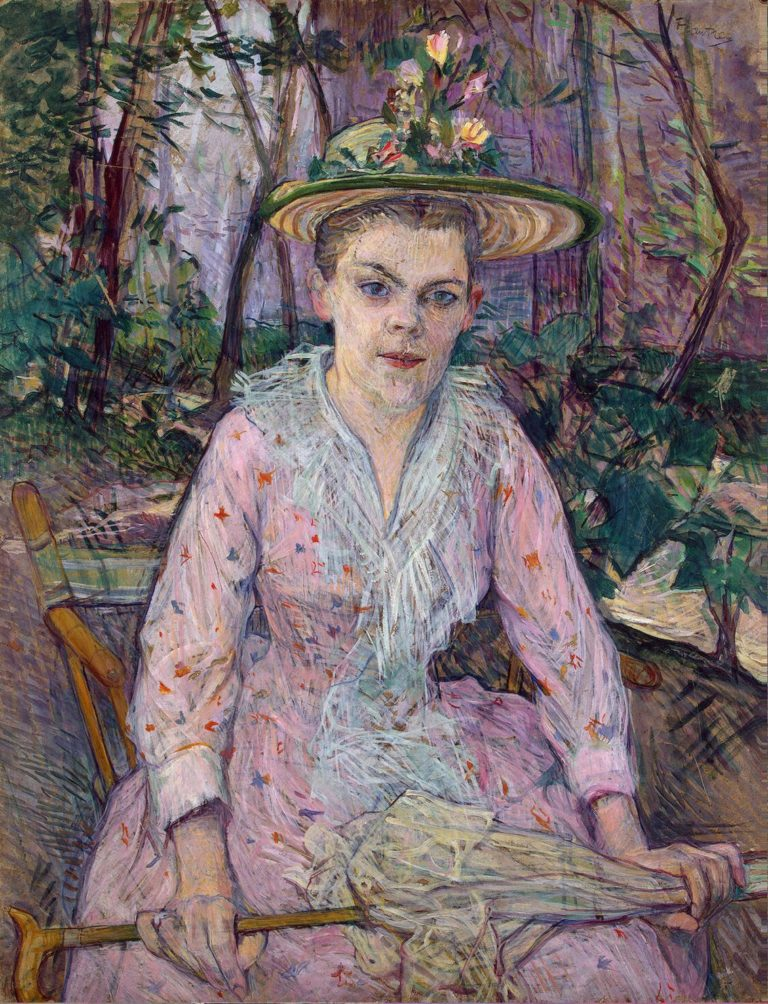 Woman with an Umbrella (Berthe the Deaf in the Garden of Monsieur Forest) | Toulouse-Lautrec Henri de | oil painting