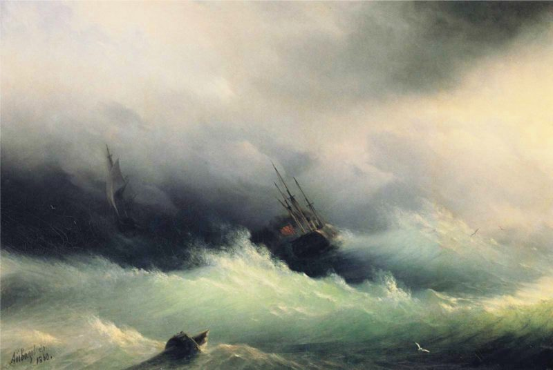 Ships in a Storm | Ivan Aivazovsky | oil painting