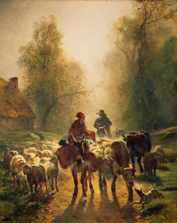 On the Way to the Market | Troyon Constant | oil painting
