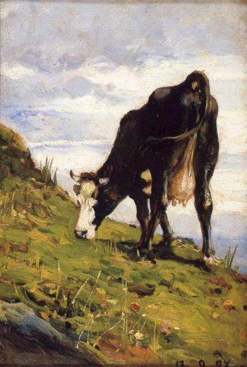 Mucca al pascolo | Lorenzo Delleani | oil painting